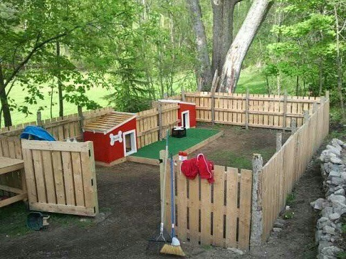 dog run with dog house