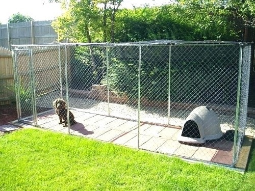 dog run with composite decking