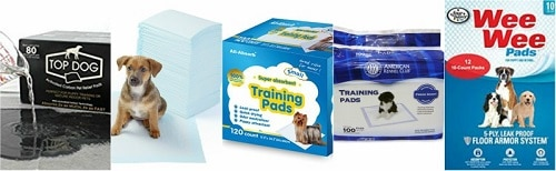 A list of different potty pads products.